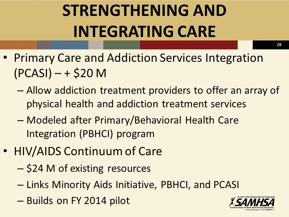 28 STRENGTHENING AND INTEGRATING CARE Primary Care and Addiction Services Integration (PCASI) – + $20 M – Allow addiction treatment providers to offer an array of physical health and addiction treatment services – Modeled after Primary/Behavioral Health Care Integration (PBHCI) program HIV/AIDS Continuum of Care – $24 M of existing resources – Links Minority Aids Initiative, PBHCI, and PCASI – Builds on FY 2014 pilot
