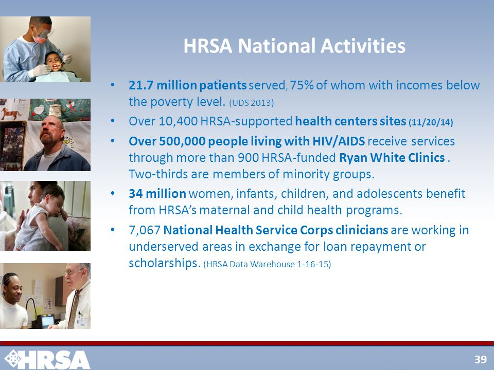 39 HRSA National Activities 21.7 million patients served, 75% of whom with incomes below the poverty level.