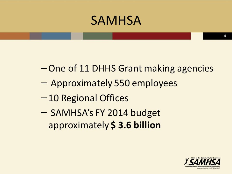 4 SAMHSA – One of 11 DHHS Grant making agencies – Approximately 550 employees – 10 Regional Offices – SAMHSA's FY 2014 budget approximately $ 3.6 billion