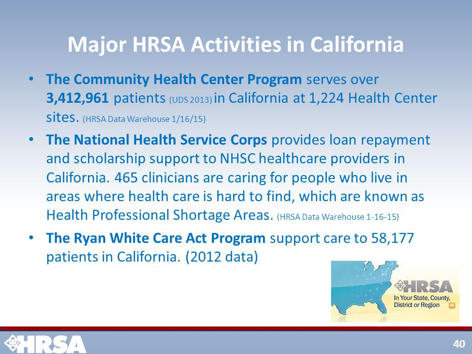 40 Major HRSA Activities in California The Community Health Center Program serves over 3,412,961 patients (UDS 2013) in California at 1,224 Health Center sites.