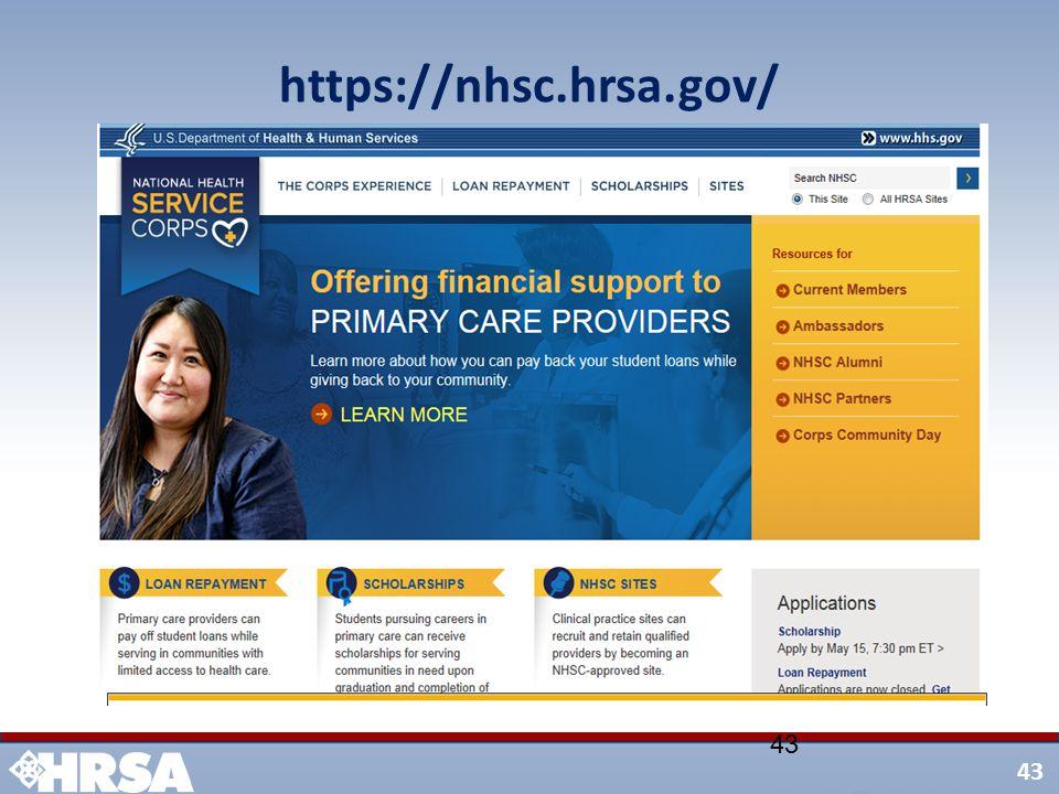 43 https://nhsc.hrsa.gov/ 43