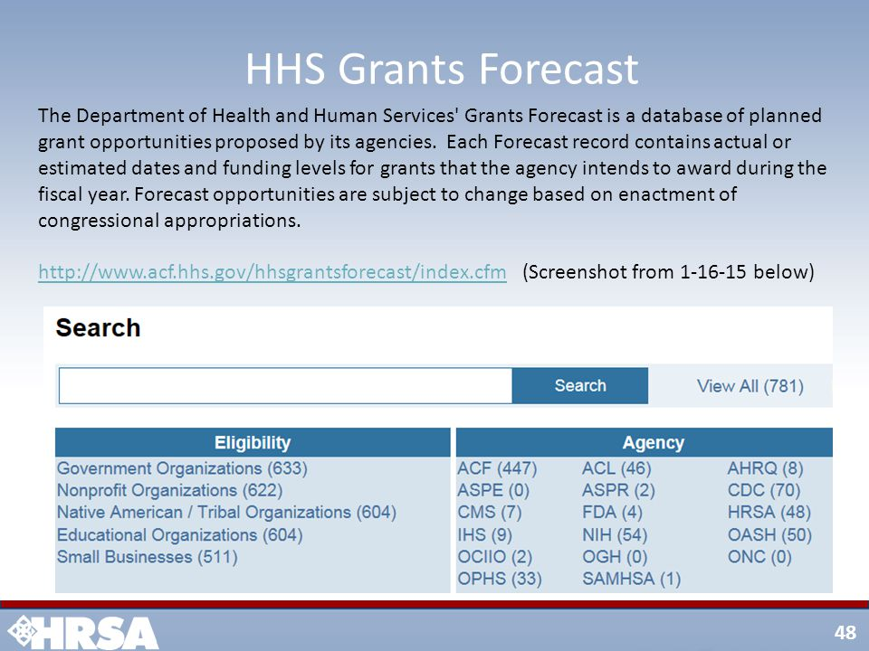 48 HHS Grants Forecast The Department of Health and Human Services Grants Forecast is a database of planned grant opportunities proposed by its agencies.