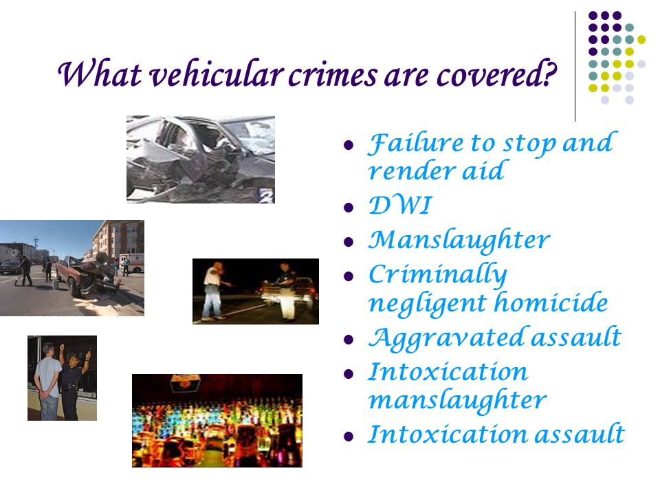 What vehicular crimes are covered.