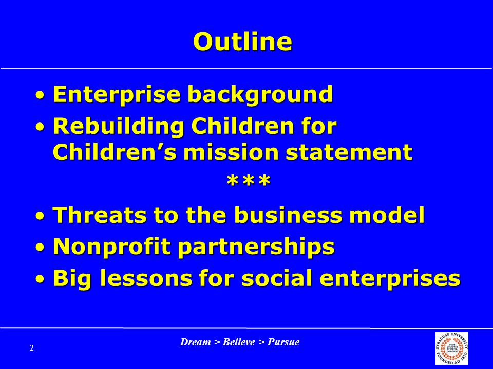 Dream > Believe > Pursue 3 Origins Started in 1996 by Silda Wall and Eliot SpitzerStarted in 1996 by Silda Wall and Eliot Spitzer Concern: Children are disengaged from the needs in their communitiesConcern: Children are disengaged from the needs in their communities Objective: Teach kids giving and volunteering valuesObjective: Teach kids giving and volunteering values
