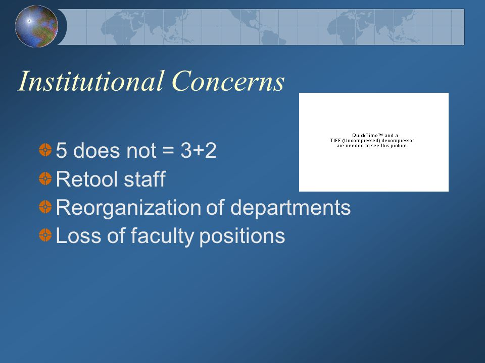Institutional Concerns 5 does not = 3+2 Retool staff Reorganization of departments Loss of faculty positions