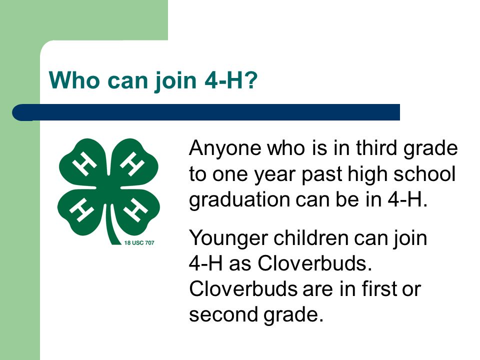 The 4-H Club Regardless of the age, most youth and adults join 4-H through a local 4-H club.