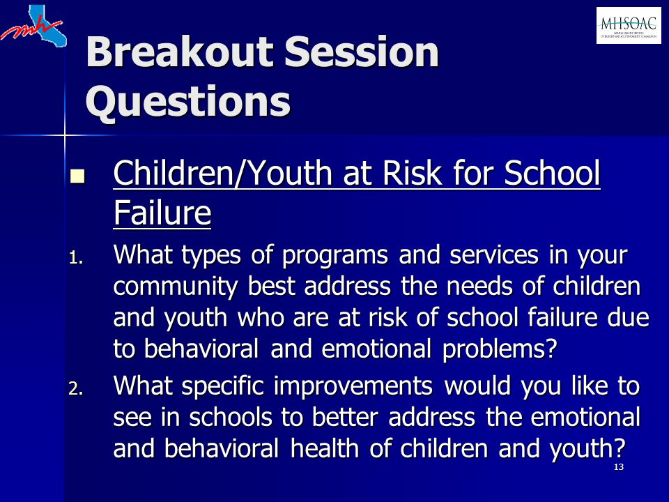 13 Breakout Session Questions Children/Youth at Risk for School Failure Children/Youth at Risk for School Failure 1. What types of programs and servic