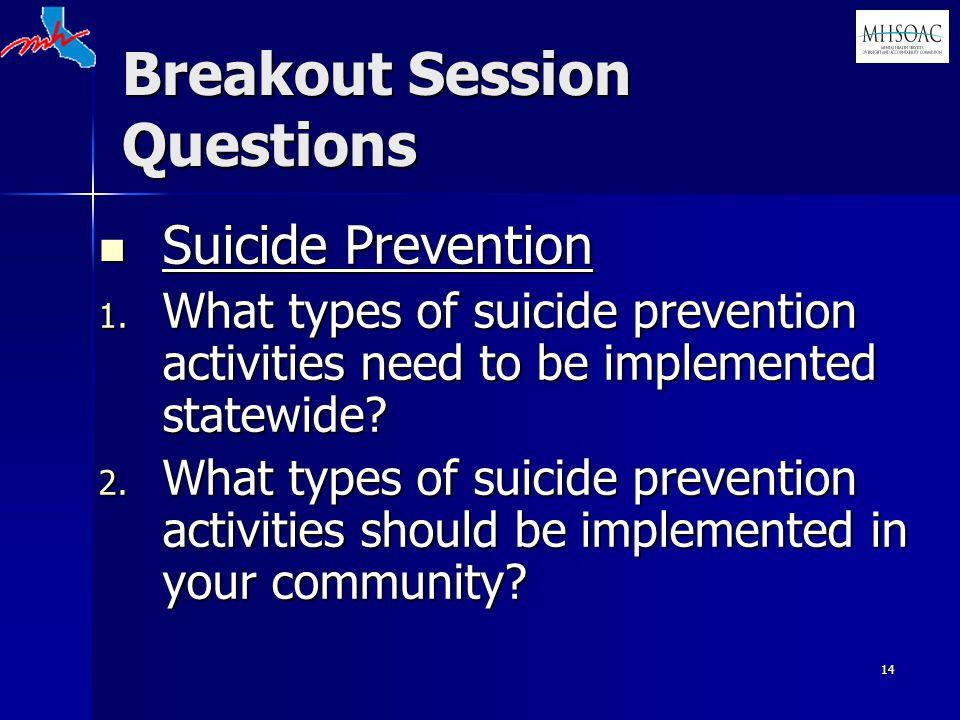 14 Breakout Session Questions Suicide Prevention Suicide Prevention 1.
