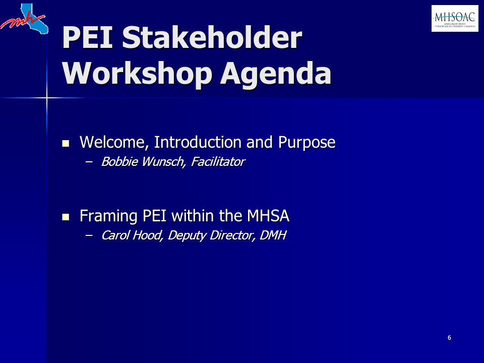 6 PEI Stakeholder Workshop Agenda Welcome, Introduction and Purpose Welcome, Introduction and Purpose –Bobbie Wunsch, Facilitator Framing PEI within the MHSA Framing PEI within the MHSA –Carol Hood, Deputy Director, DMH