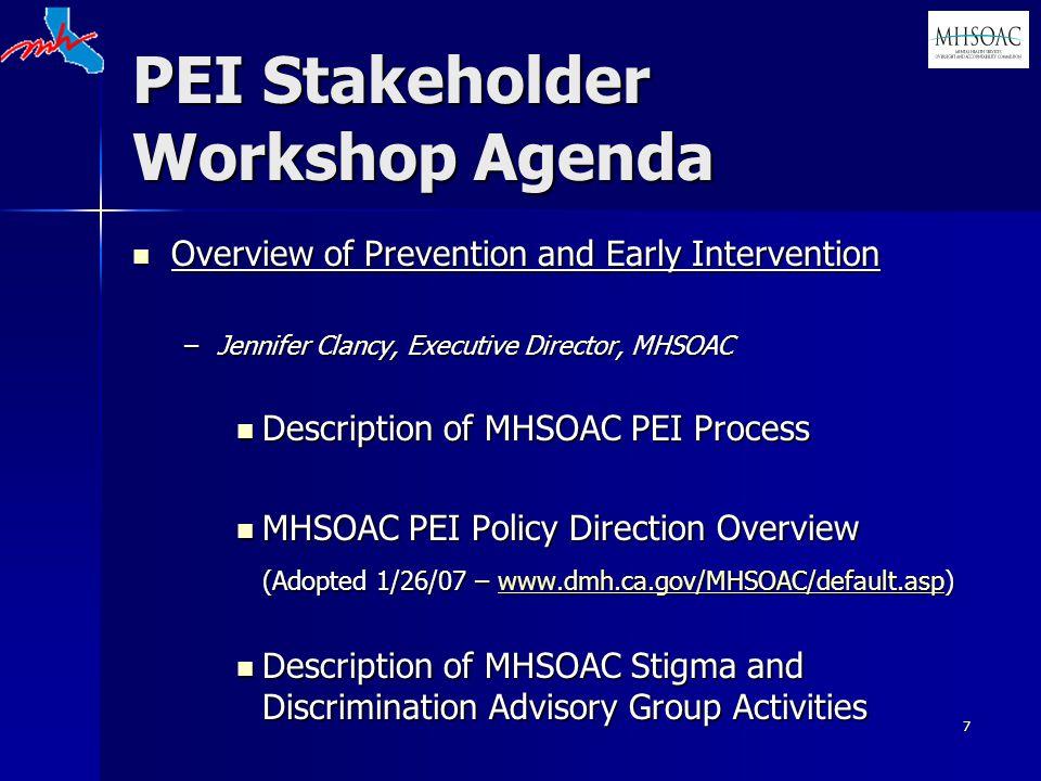 7 PEI Stakeholder Workshop Agenda Overview of Prevention and Early Intervention Overview of Prevention and Early Intervention –Jennifer Clancy, Executive Director, MHSOAC Description of MHSOAC PEI Process Description of MHSOAC PEI Process MHSOAC PEI Policy Direction Overview MHSOAC PEI Policy Direction Overview (Adopted 1/26/07 – www.dmh.ca.gov/MHSOAC/default.asp) www.dmh.ca.gov/MHSOAC/default.asp Description of MHSOAC Stigma and Discrimination Advisory Group Activities Description of MHSOAC Stigma and Discrimination Advisory Group Activities