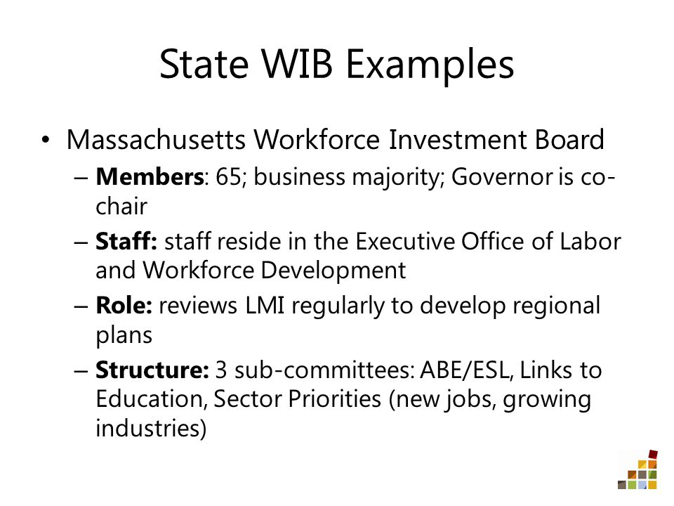 State WIB Examples Massachusetts Workforce Investment Board – Members: 65; business majority; Governor is co- chair – Staff: staff reside in the Executive Office of Labor and Workforce Development – Role: reviews LMI regularly to develop regional plans – Structure: 3 sub-committees: ABE/ESL, Links to Education, Sector Priorities (new jobs, growing industries)