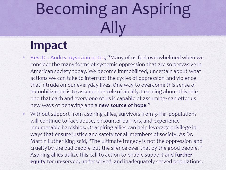 """Becoming an Aspiring Ally Impact Rev. Dr. Andrea Ayvazian notes, """"Many of us feel overwhelmed when we consider the many forms of systemic oppression t"""