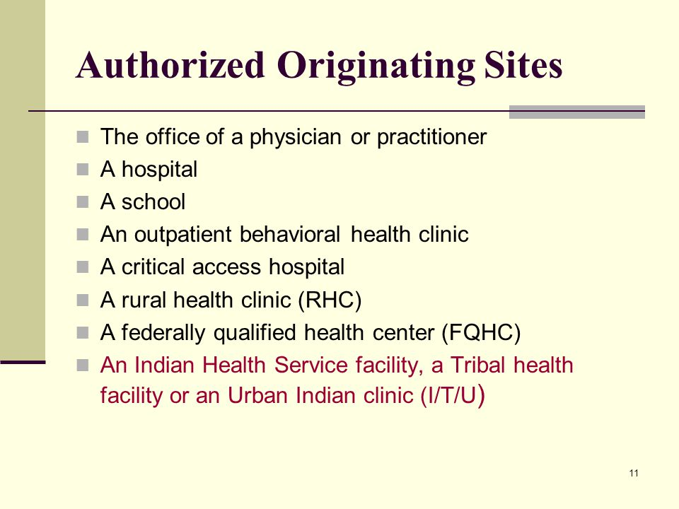 11 Authorized Originating Sites The office of a physician or practitioner A hospital A school An outpatient behavioral health clinic A critical access