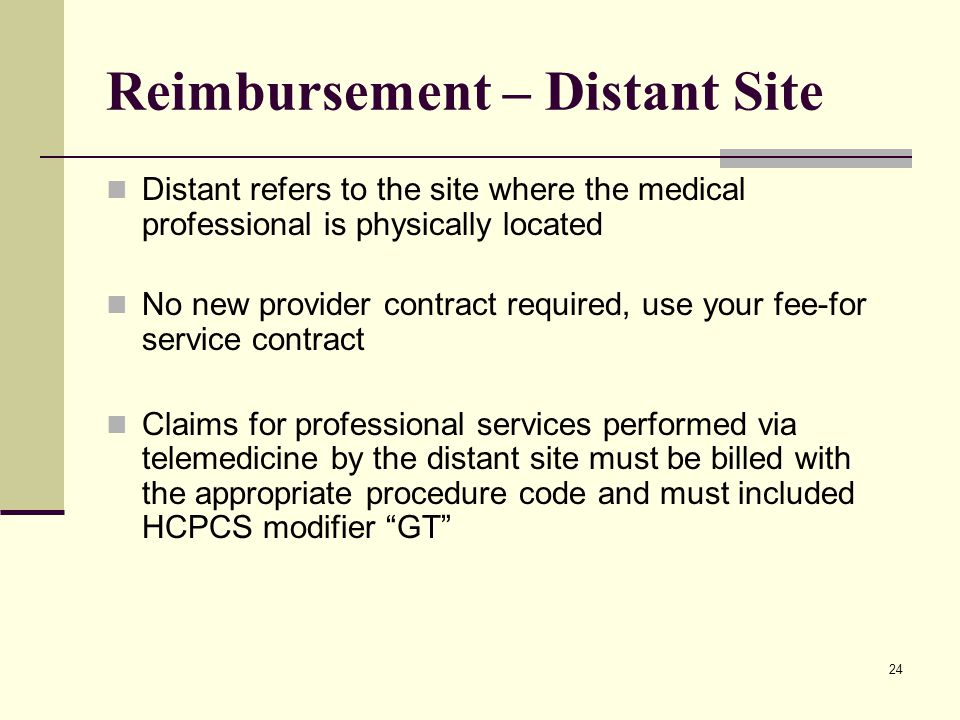 24 Reimbursement – Distant Site Distant refers to the site where the medical professional is physically located No new provider contract required, use