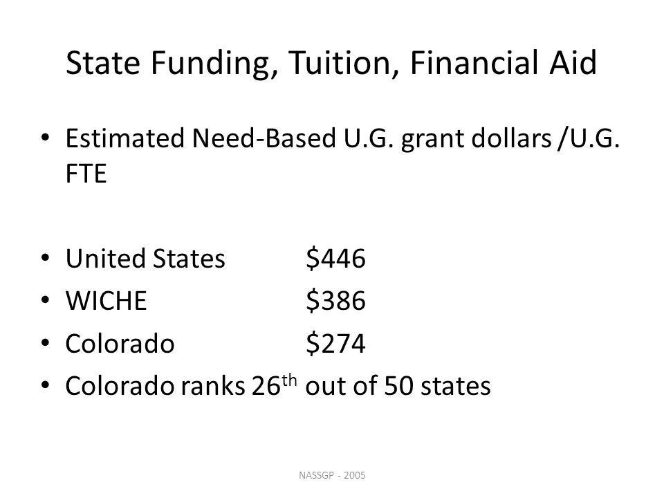 State Funding, Tuition, Financial Aid Estimated Need-Based U.G.