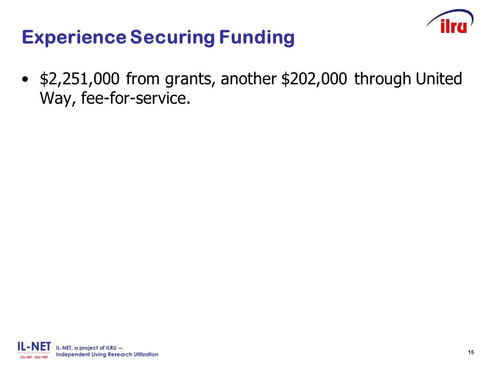 Slide 15 Experience Securing Funding $2,251,000 from grants, another $202,000 through United Way, fee-for-service. 15