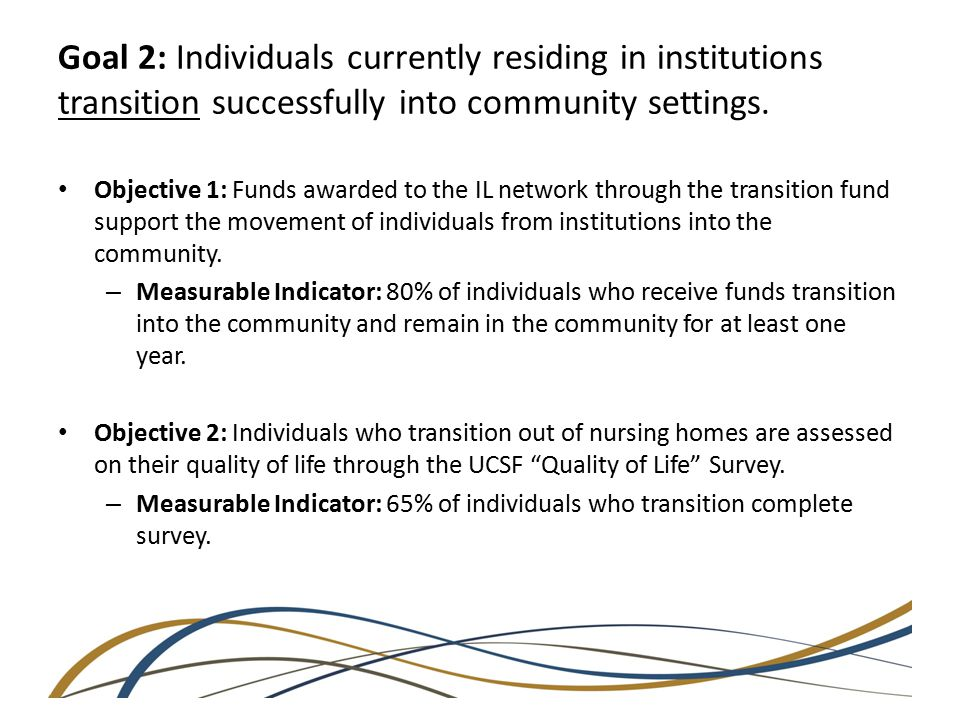 Goal 2: Individuals currently residing in institutions transition successfully into community settings.