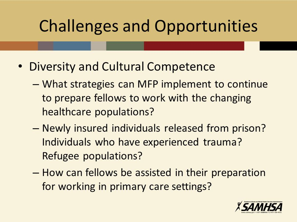 Challenges and Opportunities Diversity and Cultural Competence – What strategies can MFP implement to continue to prepare fellows to work with the cha
