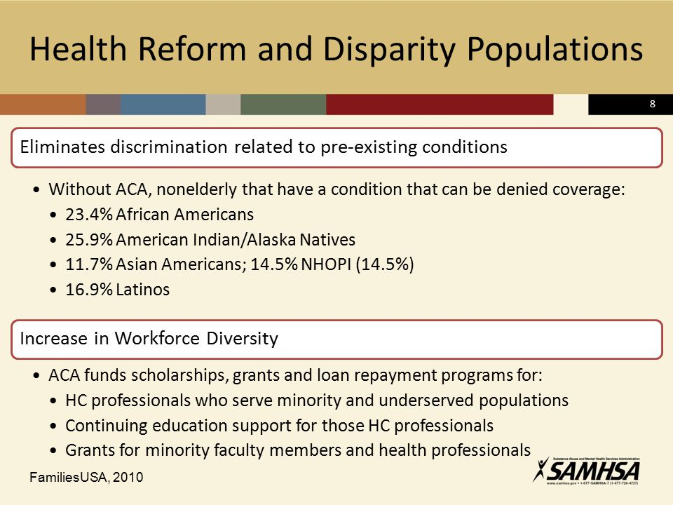 8 Health Reform and Disparity Populations Eliminates discrimination related to pre-existing conditions Without ACA, nonelderly that have a condition t