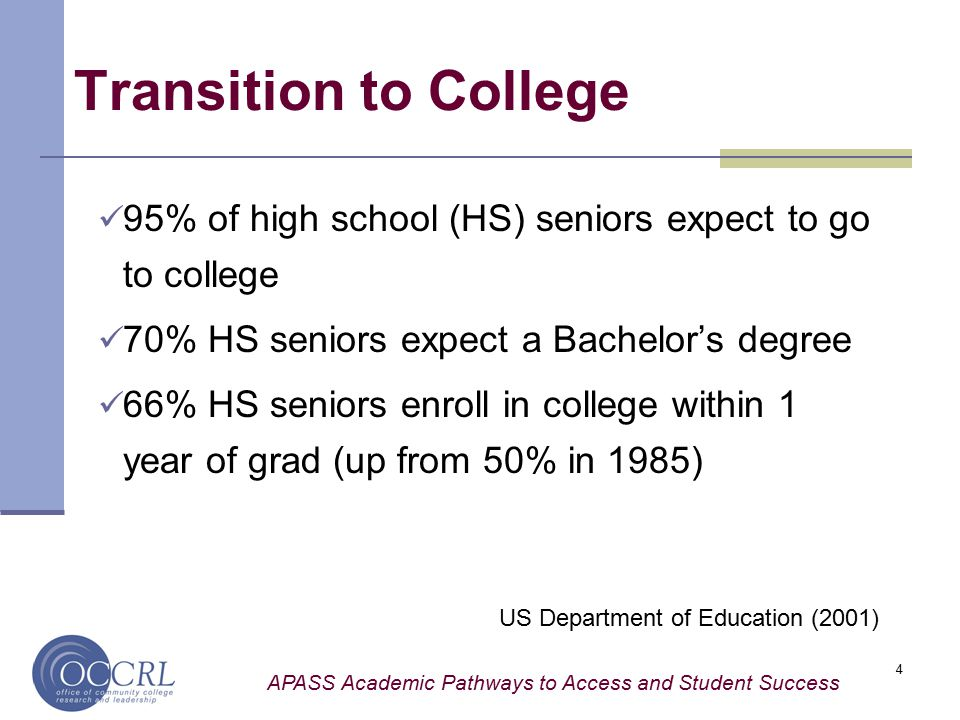 APASS Academic Pathways to Access and Student Success 4 Transition to College 95% of high school (HS) seniors expect to go to college 70% HS seniors expect a Bachelor's degree 66% HS seniors enroll in college within 1 year of grad (up from 50% in 1985) US Department of Education (2001)
