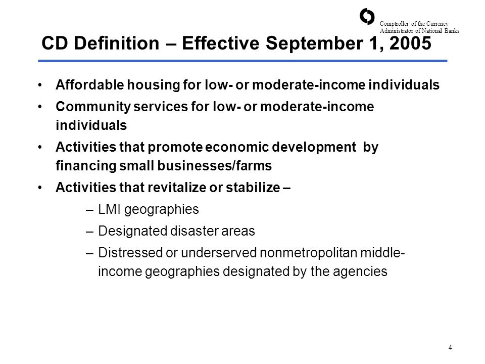 Comptroller of the Currency Administrator of National Banks 25 Proposed Amendment to the CRA Regulation CRA consideration for community development activities that revitalize and stabilize middle-income geographies that are significantly impacted by the foreclosure crisis Emerging Issues - Foreclosures and CRA Reg