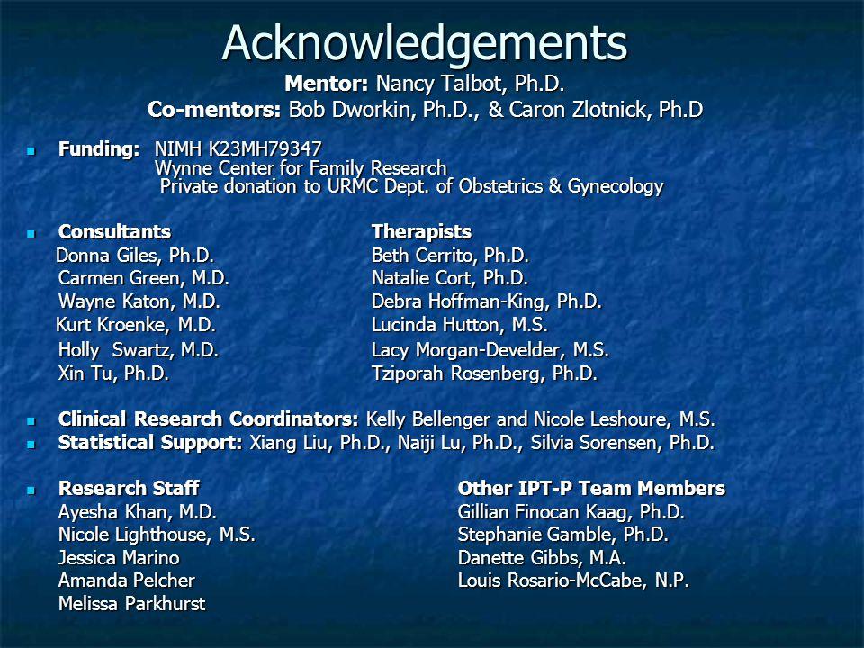 Acknowledgements Mentor: Nancy Talbot, Ph.D. Co-mentors: Bob Dworkin, Ph.D., & Caron Zlotnick, Ph.D Funding: NIMH K23MH79347 Wynne Center for Family R