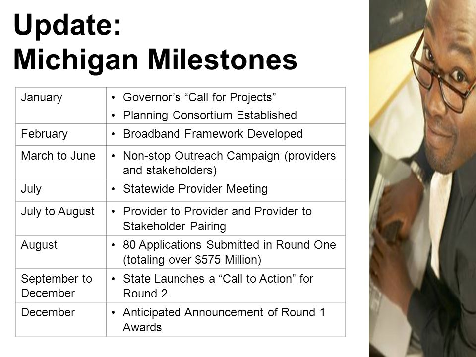 Update: Michigan Milestones January Governor's Call for Projects Planning Consortium Established February Broadband Framework Developed March to JuneNon-stop Outreach Campaign (providers and stakeholders) July Statewide Provider Meeting July to August Provider to Provider and Provider to Stakeholder Pairing August 80 Applications Submitted in Round One (totaling over $575 Million) September to December State Launches a Call to Action for Round 2 December Anticipated Announcement of Round 1 Awards