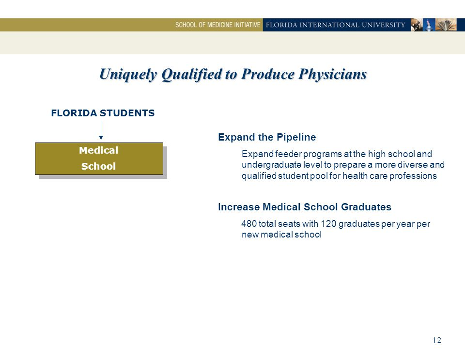 12 Uniquely Qualified to Produce Physicians Medical School Medical School FLORIDA STUDENTS Increase Medical School Graduates 480 total seats with 120 graduates per year per new medical school Expand the Pipeline Expand feeder programs at the high school and undergraduate level to prepare a more diverse and qualified student pool for health care professions