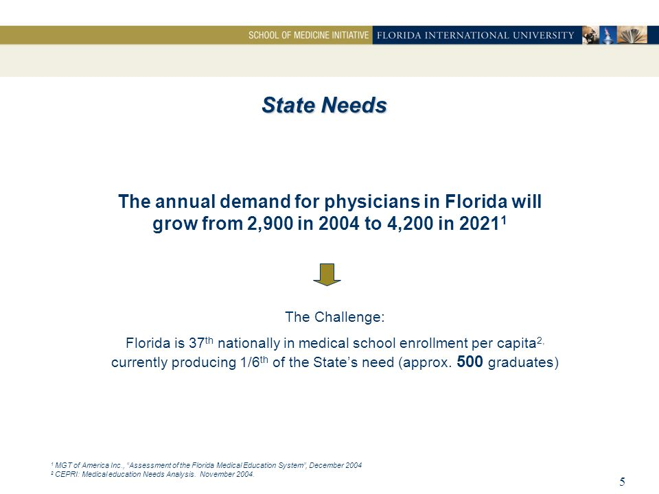 6  High Underserved: In South Florida, 2.3 million of 5.1 million are medically underserved 1, 60% or, 1.4 million, live in Dade County Defined by NIH as: – Primary care physicians per 1000 – Infant mortality rate – Percent of the population with incomes below the poverty line – Percent of population over 65 years of age  High Disparities: The underserved are predominantly minorities  Higher Demand: The large elderly population found in South Florida requires more medical services Local Needs The Problem: South Florida's need is critical 1 Giovani H.