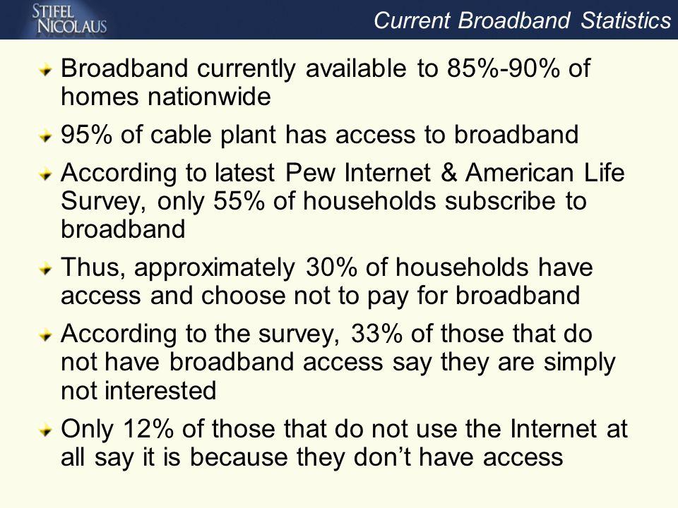 Broadband Subscriber Growth Slowing Source: Company data, Stifel Nicolaus estimates