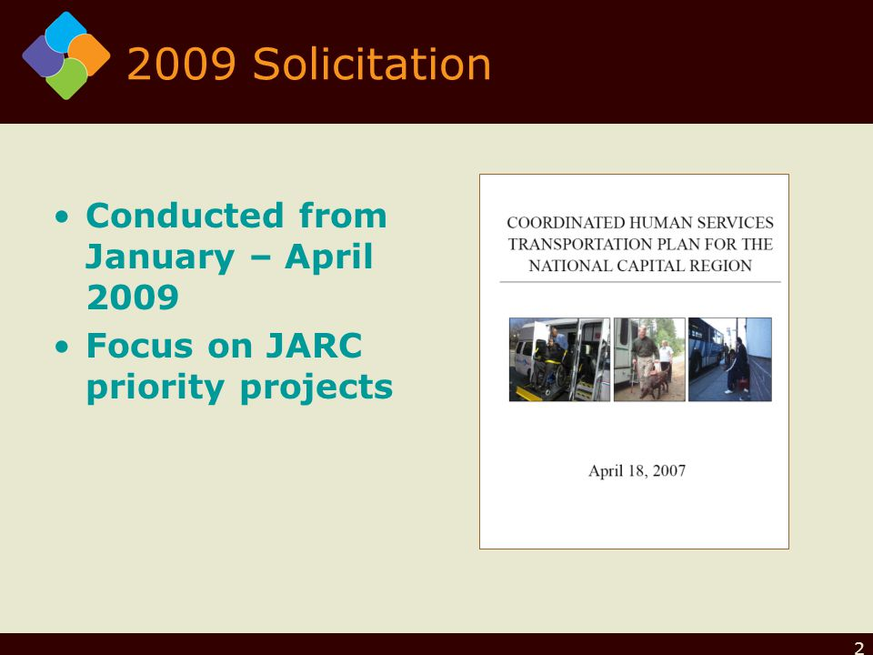 2 2009 Solicitation Conducted from January – April 2009 Focus on JARC priority projects
