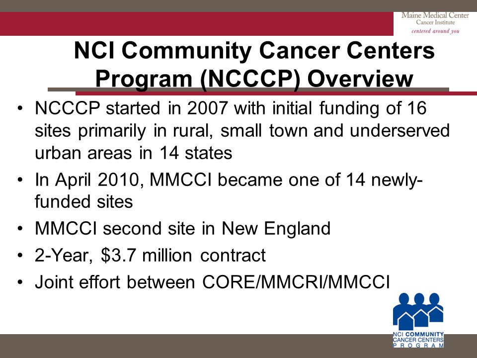 NCI Community Cancer Centers Program (NCCCP) Overview NCCCP started in 2007 with initial funding of 16 sites primarily in rural, small town and unders