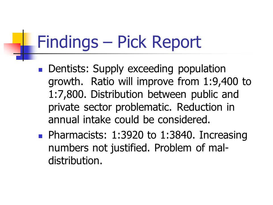 Findings – Pick Report Dentists: Supply exceeding population growth.