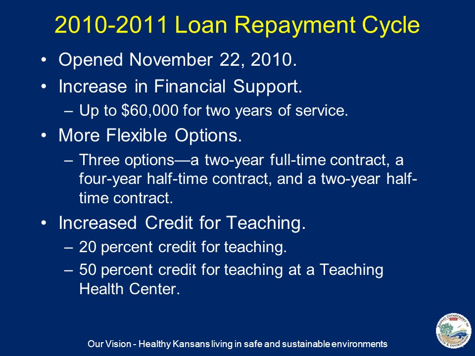 Our Vision - Healthy Kansans living in safe and sustainable environments 2010-2011 Loan Repayment Cycle Opened November 22, 2010.