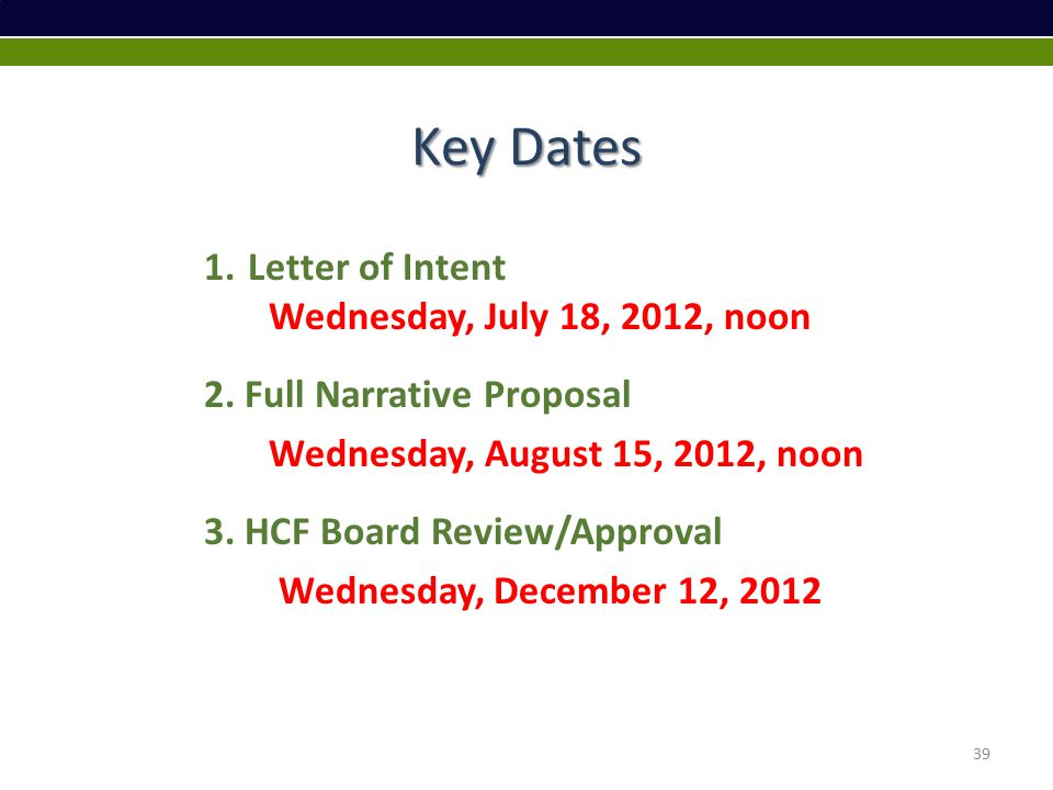 Key Dates 1.Letter of Intent Wednesday, July 18, 2012, noon 2.