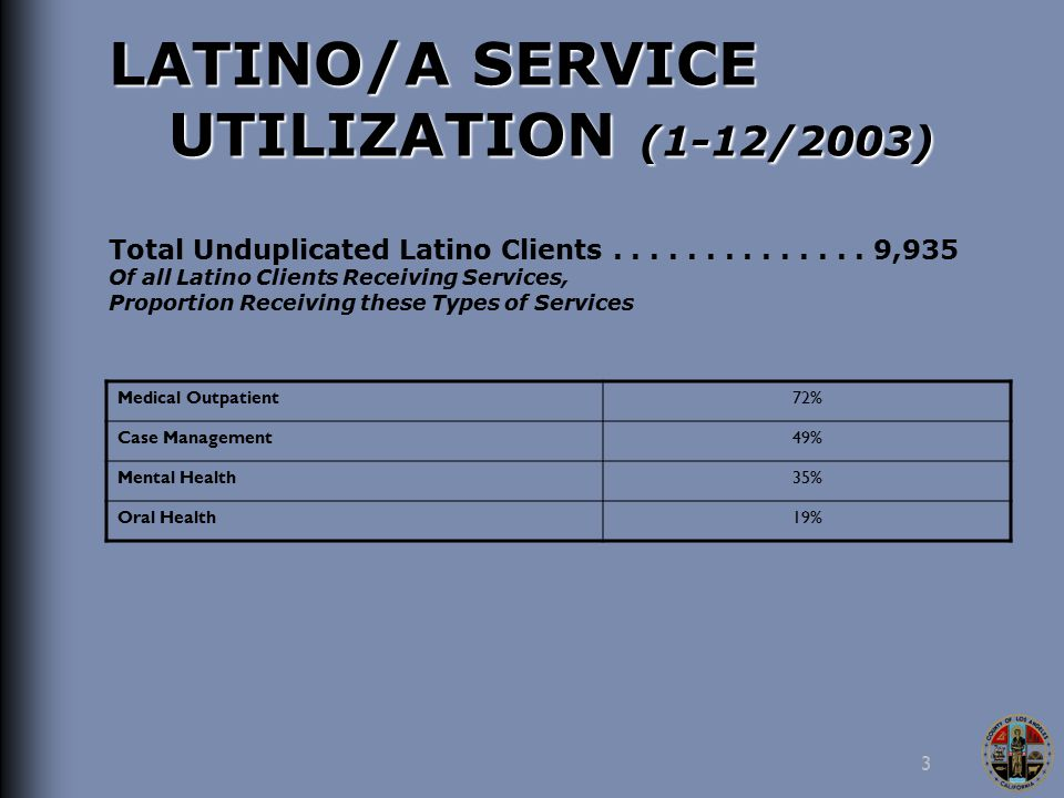 3 LATINO/A SERVICE UTILIZATION (1-12/2003) Total Unduplicated Latino Clients..............