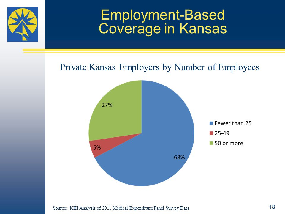 Employment-Based Coverage in Kansas Source: KHI Analysis of 2011 Medical Expenditure Panel Survey Data Private Kansas Employers by Number of Employees 18