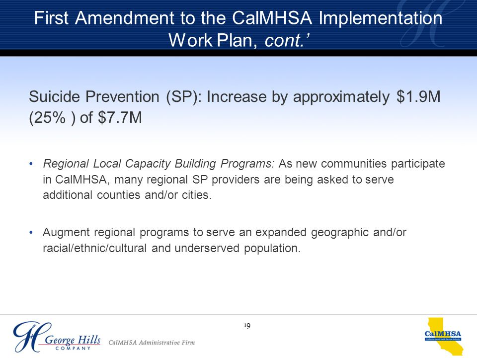 19 First Amendment to the CalMHSA Implementation Work Plan, cont.' Suicide Prevention (SP): Increase by approximately $1.9M (25% ) of $7.7M Regional L