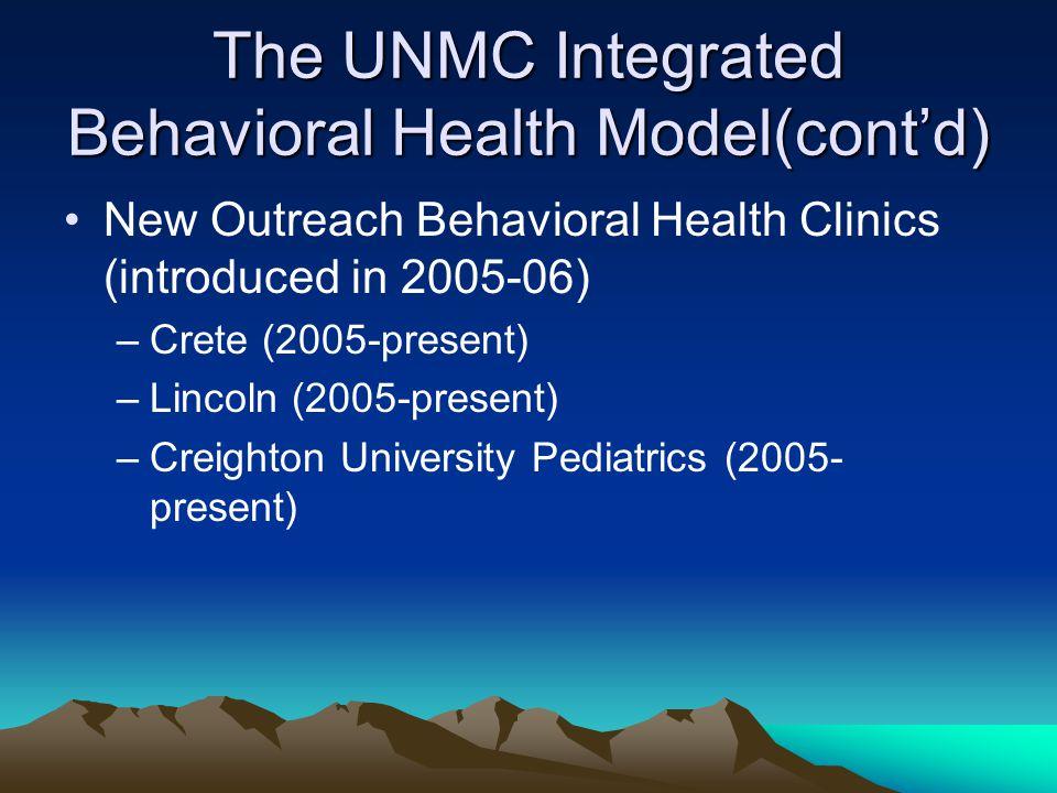 The UNMC Integrated Behavioral Health Model(cont'd) New Outreach Behavioral Health Clinics (introduced in 2005-06) –Crete (2005-present) –Lincoln (2005-present) –Creighton University Pediatrics (2005- present)