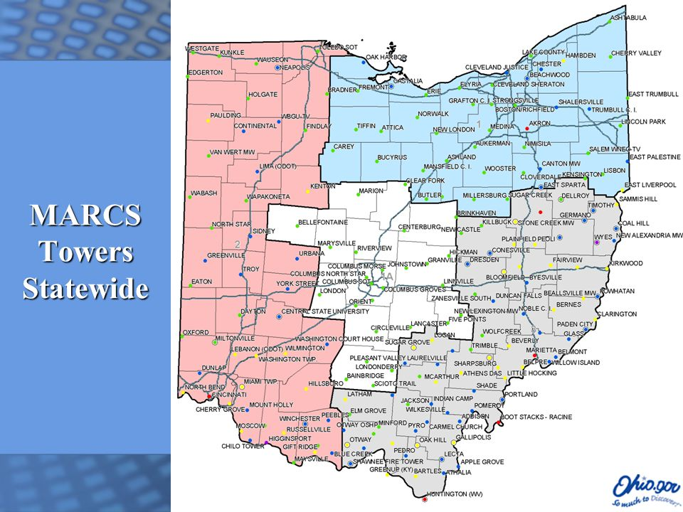 Network Topology State of Ohio Multi-Agency Communications (SOMAC) Contract with SBC  Postal Rated T1s @ $400/month