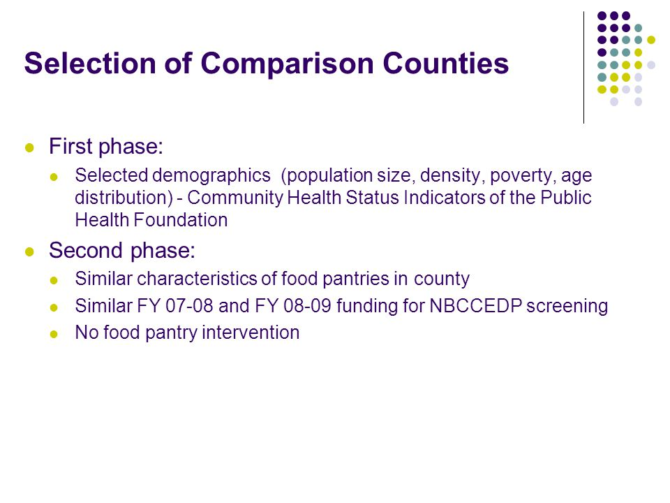 Selection of Comparison Counties First phase: Selected demographics (population size, density, poverty, age distribution) - Community Health Status Indicators of the Public Health Foundation Second phase: Similar characteristics of food pantries in county Similar FY 07-08 and FY 08-09 funding for NBCCEDP screening No food pantry intervention