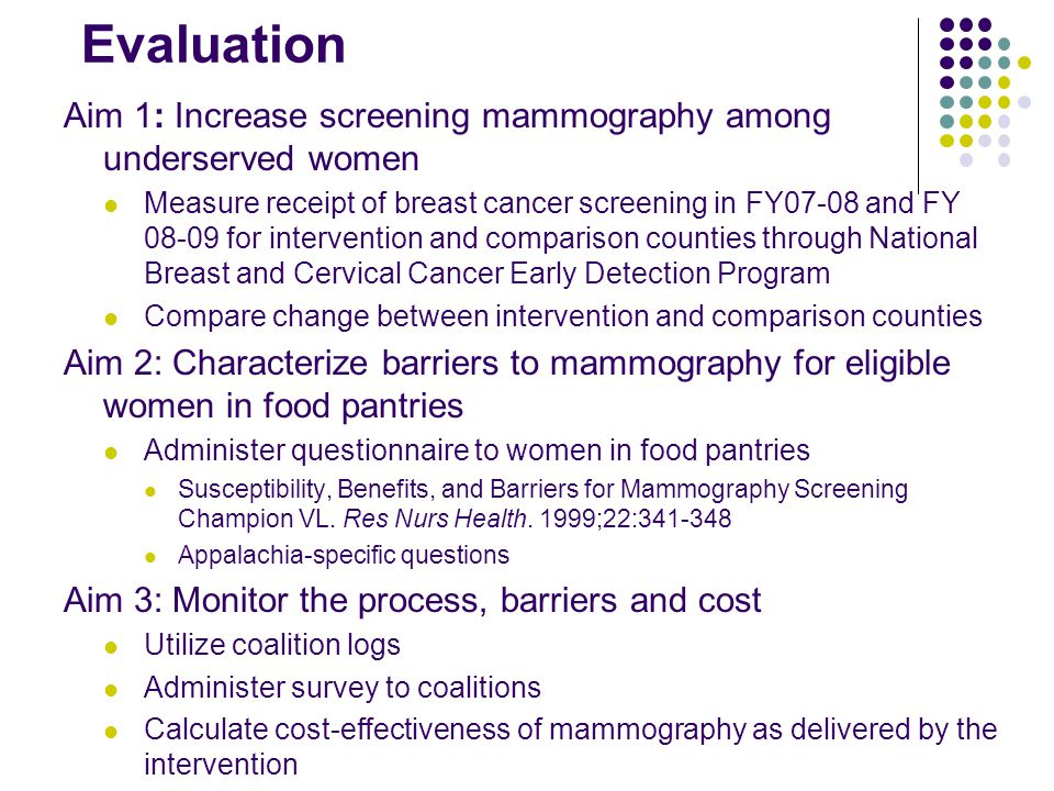 Evaluation Aim 1: Increase screening mammography among underserved women Measure receipt of breast cancer screening in FY07-08 and FY 08-09 for intervention and comparison counties through National Breast and Cervical Cancer Early Detection Program Compare change between intervention and comparison counties Aim 2: Characterize barriers to mammography for eligible women in food pantries Administer questionnaire to women in food pantries Susceptibility, Benefits, and Barriers for Mammography Screening Champion VL.