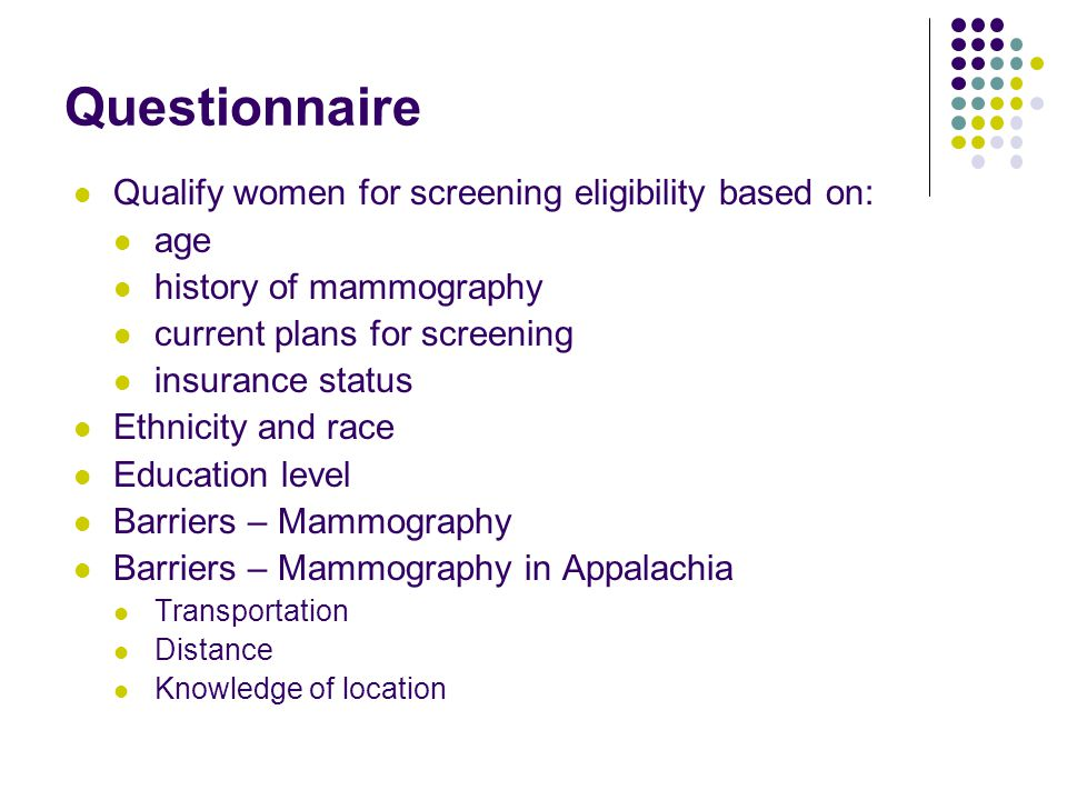 Questionnaire Qualify women for screening eligibility based on: age history of mammography current plans for screening insurance status Ethnicity and race Education level Barriers – Mammography Barriers – Mammography in Appalachia Transportation Distance Knowledge of location
