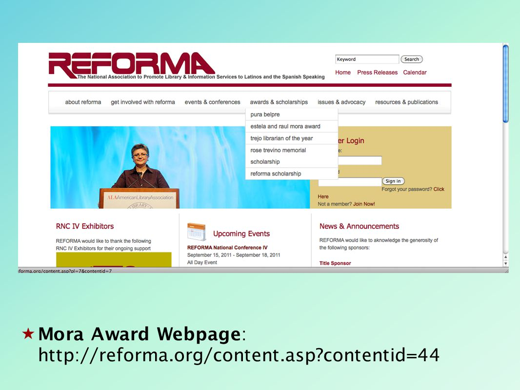  Mora Award Webpage: http://reforma.org/content.asp?contentid=44