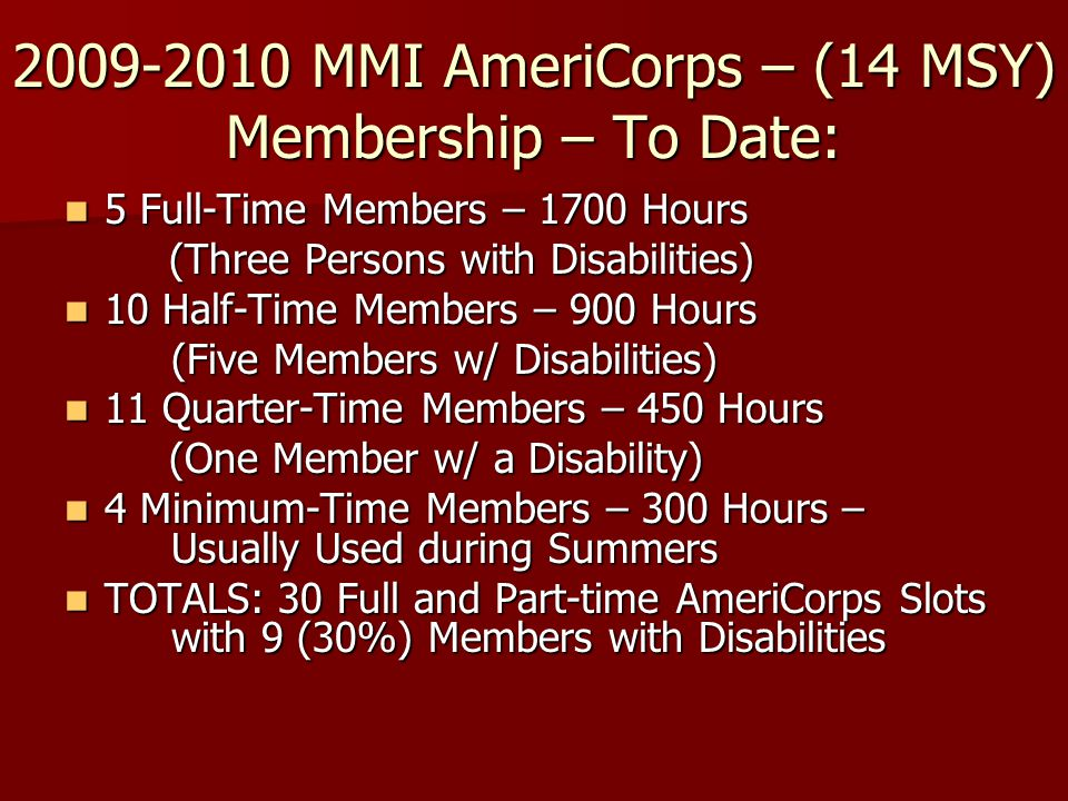 2009-2010 MMI AmeriCorps – (14 MSY) Membership – To Date: 5 Full-Time Members – 1700 Hours 5 Full-Time Members – 1700 Hours (Three Persons with Disabi