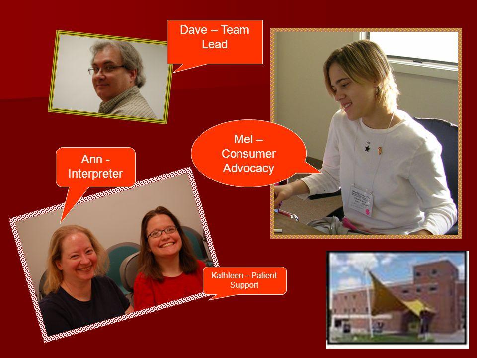 Dave – Team Lead Mel – Consumer Advocacy Kathleen – Patient Support Ann - Interpreter