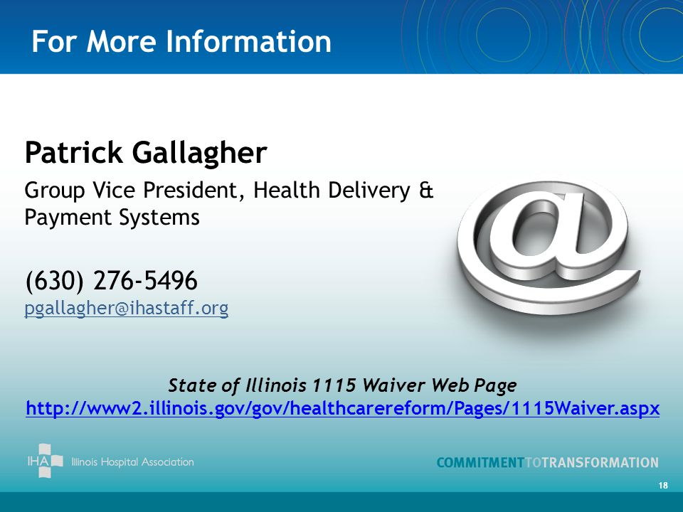 For More Information Patrick Gallagher Group Vice President, Health Delivery & Payment Systems (630) 276-5496 pgallagher@ihastaff.org State of Illinois 1115 Waiver Web Page http://www2.illinois.gov/gov/healthcarereform/Pages/1115Waiver.aspx 18