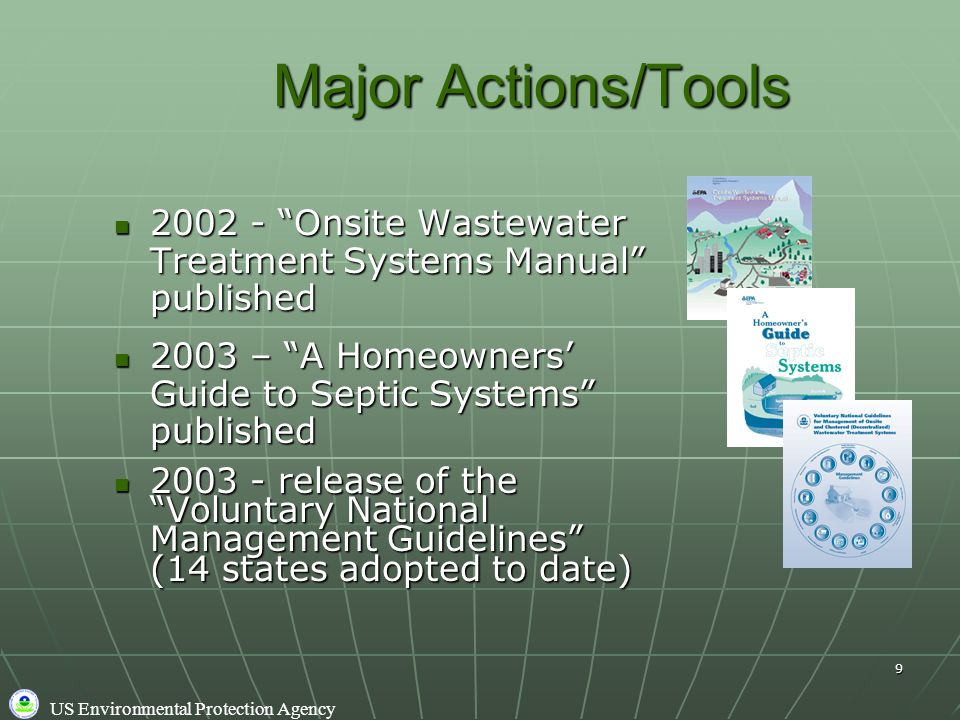 US Environmental Protection Agency 9 2002 - Onsite Wastewater Treatment Systems Manual published 2002 - Onsite Wastewater Treatment Systems Manual published 2003 – A Homeowners' Guide to Septic Systems published 2003 – A Homeowners' Guide to Septic Systems published 2003 - release of the Voluntary National Management Guidelines (14 states adopted to date) 2003 - release of the Voluntary National Management Guidelines (14 states adopted to date) Major Actions/Tools