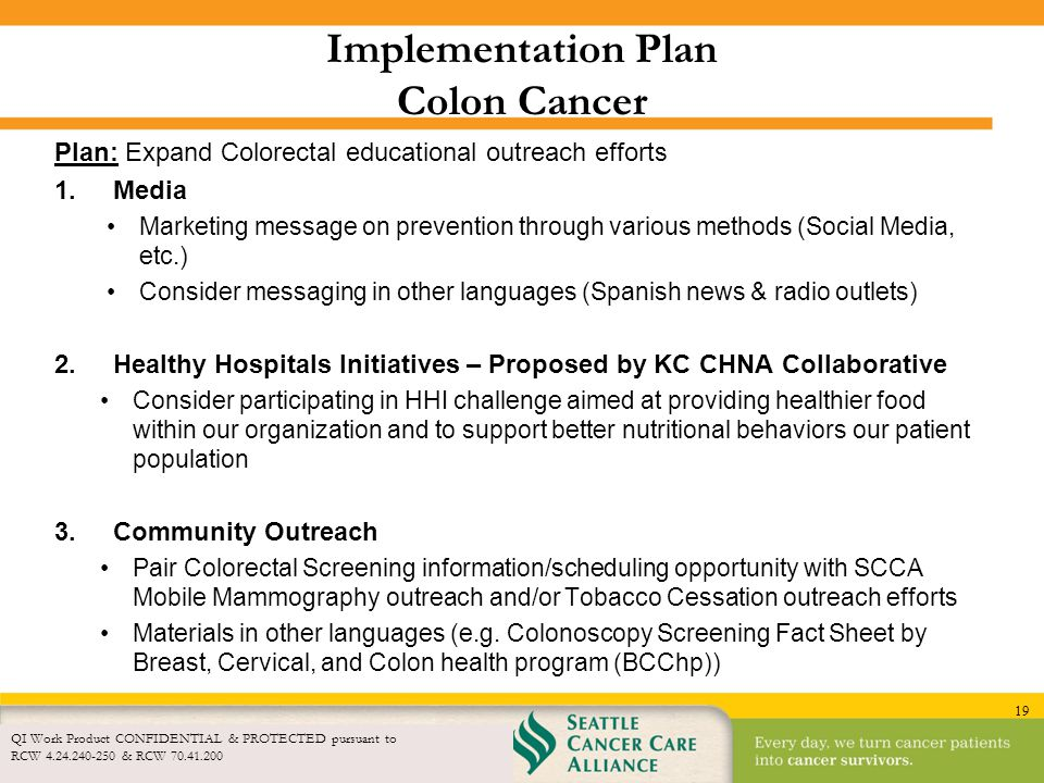 19 Implementation Plan Colon Cancer Plan: Expand Colorectal educational outreach efforts 1.Media Marketing message on prevention through various metho