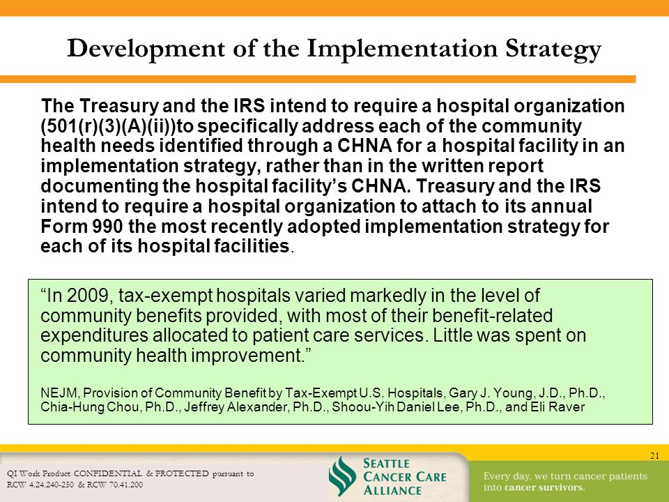 21 Development of the Implementation Strategy QI Work Product CONFIDENTIAL & PROTECTED pursuant to RCW 4.24.240-250 & RCW 70.41.200 The Treasury and t